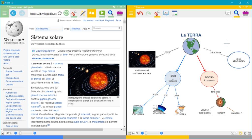Esempio di mappa creata con GECO, con ambiente browser e mappe affiancati